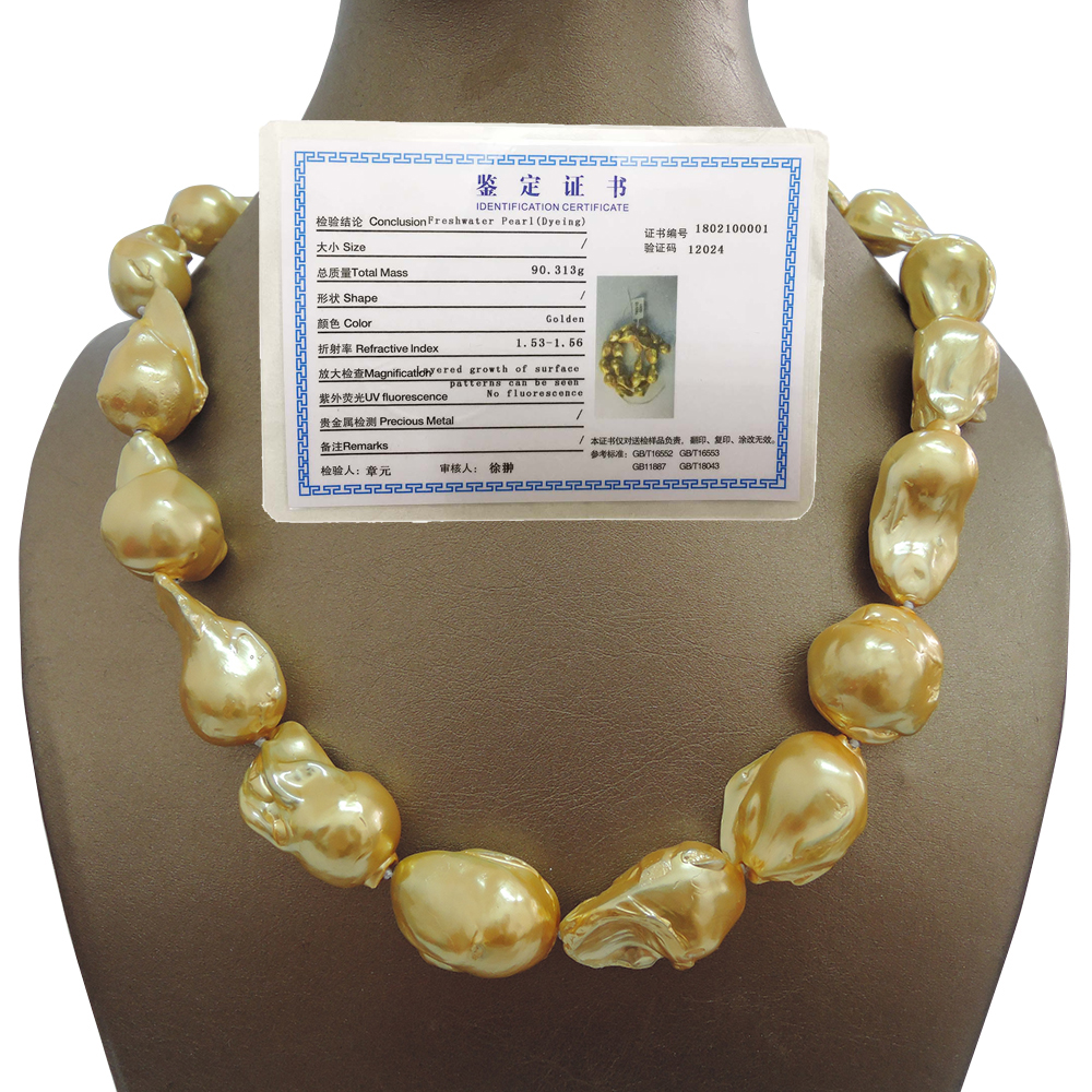 100% FRESHWATER Baroque PEARL NECKLACE-good quality-925 SILVER HOOK in gold plating
