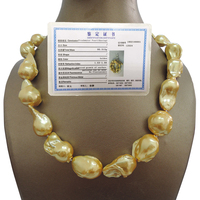 100% FRESHWATER Baroque PEARL NECKLACE good quality 925 SILVER HOOK in gold plating