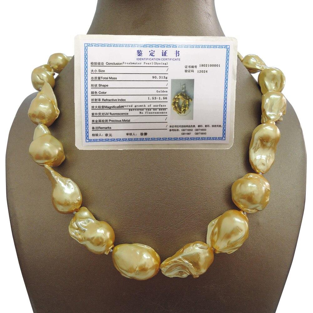 100% collier de perles d'eau douce Baroque-bonne qualité-925 crochet en argent plaqué or