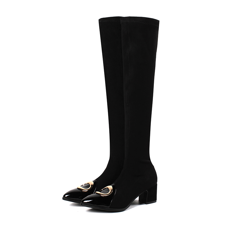 noir Le Bout Femmes Boot Genou 34 Printemps Sur Khaki 43 Femme Taille Dames Chaussures Glissent Noir Med gris Moto Bottes Pointu Eshtonshero Talons vt5wq1q
