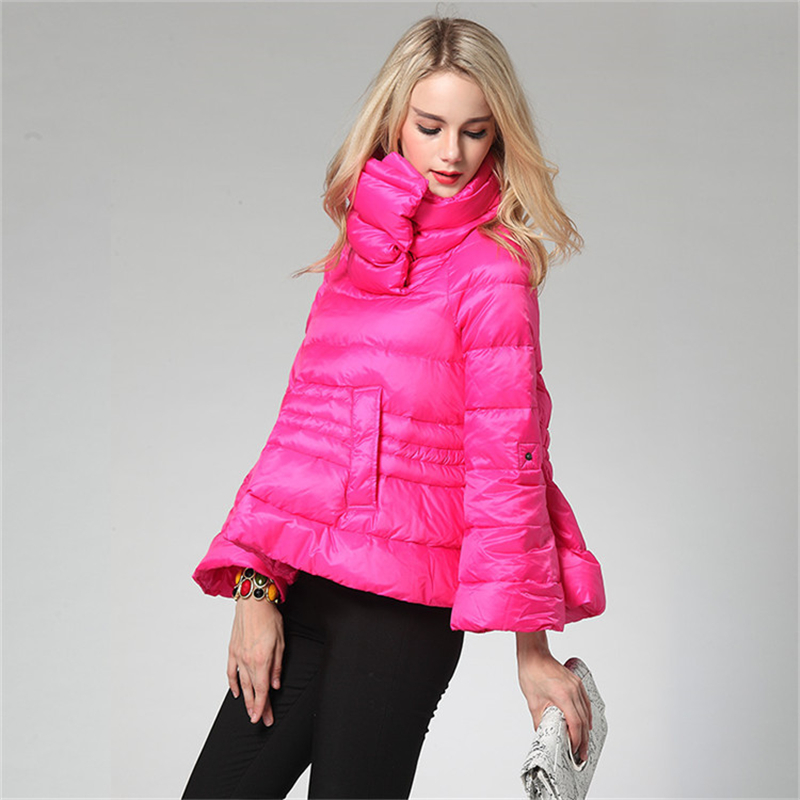 2019 New European Short White duck   Down   Women Winter   Down     Coat   A word Plue size light Warm High collar Loose   Down   Jacket W121