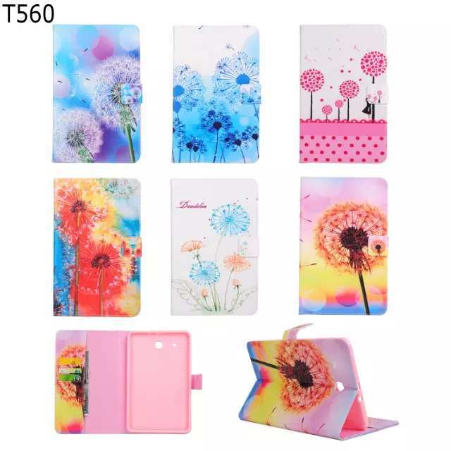Fashion Dandelion flower Card Slot Leather stand holder Cover Case For Samsung Galaxy Tab E 9.6 T560 SM-T560 T561 with pen brushed case phone holder with card slot for google pixel blue