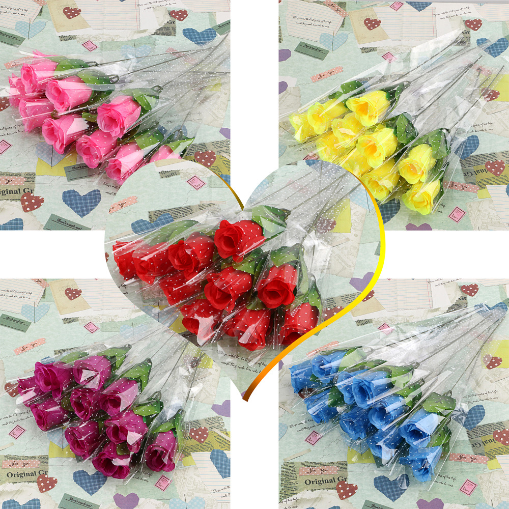 5 Pcs A Set Lowest Price Single Stem Artificial Rose Silk Flowers