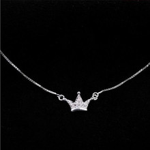 Korean Simple Small Crown Female Zircon Accessories Clasp 925 Silver Jewelry Clavicle Chain Pendant Necklace H128