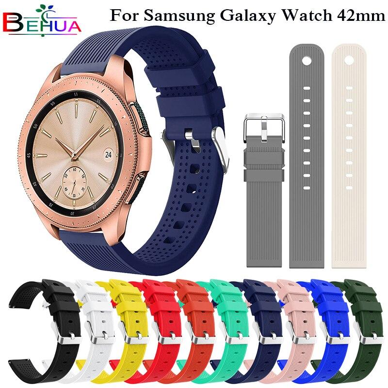 20mm silicone macio pulseira de relógio para samsung gear sport s4 s2 substituição relógio inteligente para samsung galaxy relógio 42mm cinta