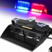 DC 12V Car LED Flashing Light S2 Suction Cup Police Lights 16LED Strobe Light 18 Flashing