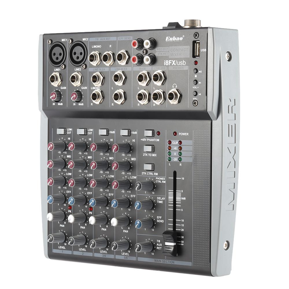 Prix pour 8 Canaux 3-Band EQ Audio Musique Mélangeur Console De Mixage avec USB XLR LIGNE D'entrée 48 V Alimentation Fantôme pour Enregistrement DJ Stade Karaoké