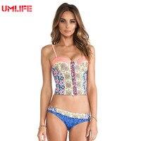 UMLIFE Two Piece Swimsuit Womens Bathing Suit 2017 Summer Floral Print Beachwear Bandage Retro 2 Piece