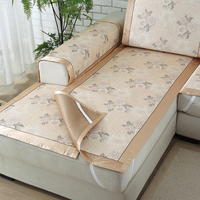 Summer Beige Ice Silk Flower Pattern Sofa Sets Modern Minimalist Style Sofa Cover Furniture Decorative Sofa