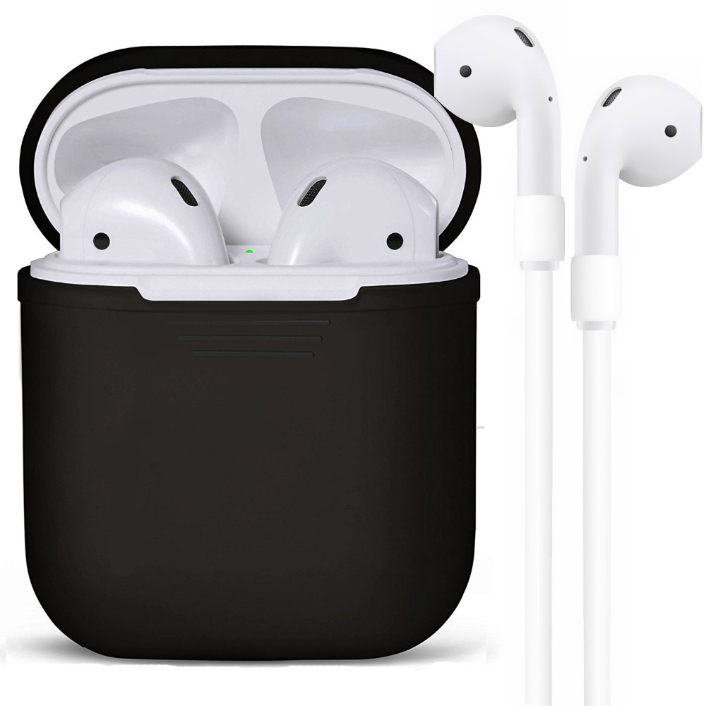 AirPods Case (included AirPods Strap) Protective Silicone Cover and Skin for Apple Airpods (Black)