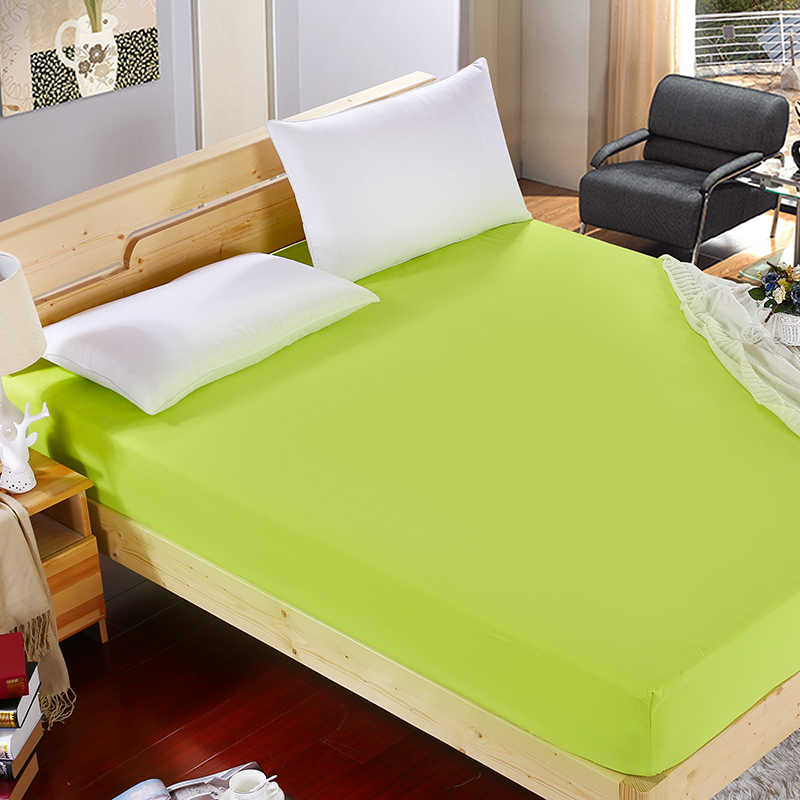 60 1pcs 100%Polyester Solid Fitted Sheet Mattress Cover Four Corners With  Elastic Band Bed Sheet