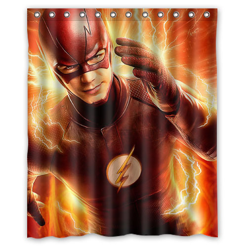 Polyester Bath Curtain Waterproof Super Hero The Flash Shower For Bathroom 152x182cm With 12 Hooks