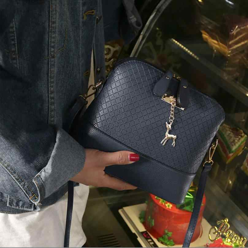 2019 новые женские сумки, качественная мягкая женская сумка из искусственной кожи, сумка-мессенджер, стеганая сумка в виде ракушки, кулон с оленем Bolso de mujer &