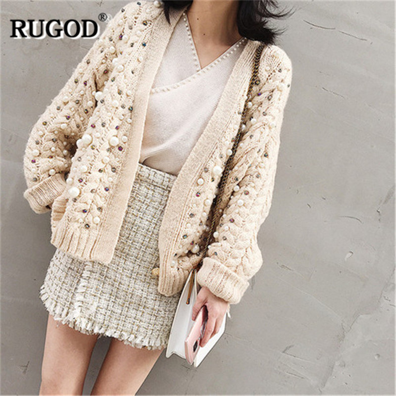 RUGOD New Casual Women Cardigans Solid Beading Women Sweater V Neck Knitted Autumn Winter Clothes sueter