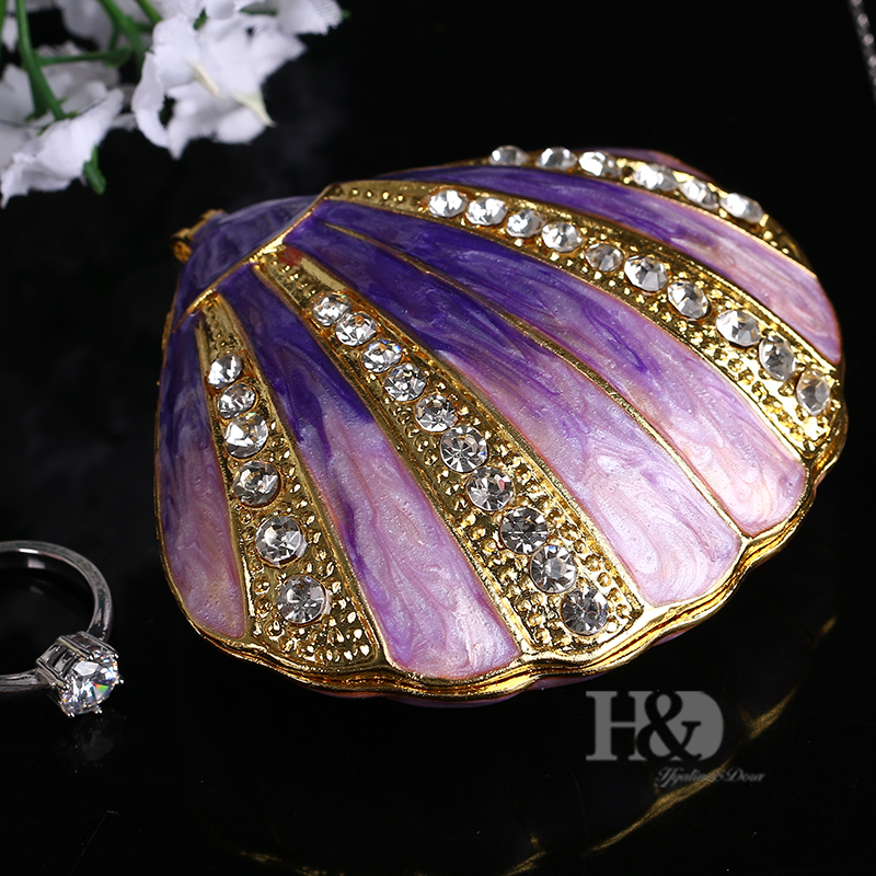 HD Womens Fashion Trinket Box Hinged Jewelry Bejeweled