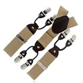 High Quality Beige Six ClaspCasual Male Braces Leather Elastic Engagement Suspenders Y-back Style 6 colors MBD8605