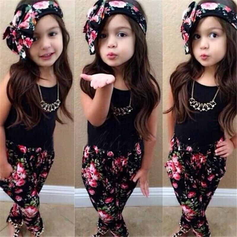 Hot Time limited Stylish Girls Sport Cute Clothes Sleeveless Shirt Floral Pants Headband 3pcs Vogue Baby