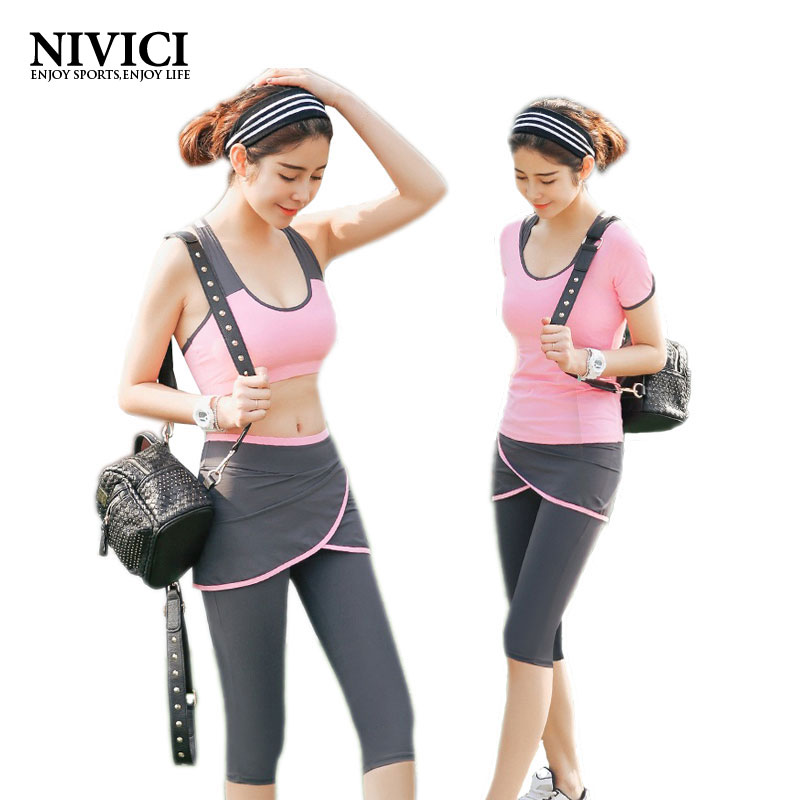 ФОТО 2017 The Hot Yoga Set Women's Sports Bra Sexy Push Up Skirt Pants Gym Breathable Fitness Clothes Workout Sport Costumes Capris