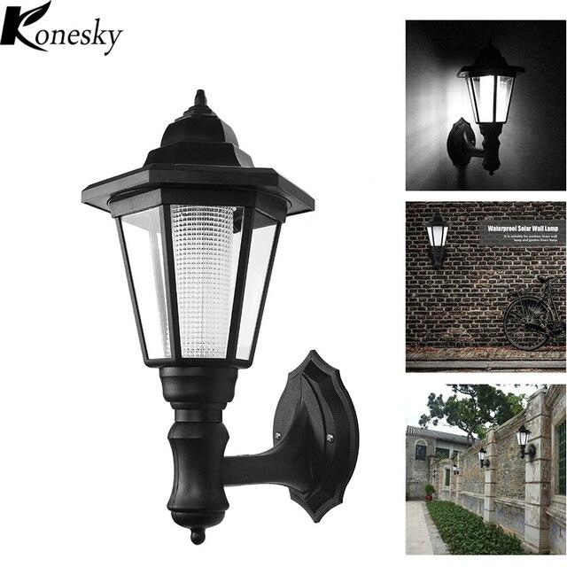 21 76 35 De Reduction Konesky 2 Pcs Lot Moderne Lampe De Jardin Solaire Led Exterieur Etanche Applique Murale Lumiere Hexagonale Lumieres De