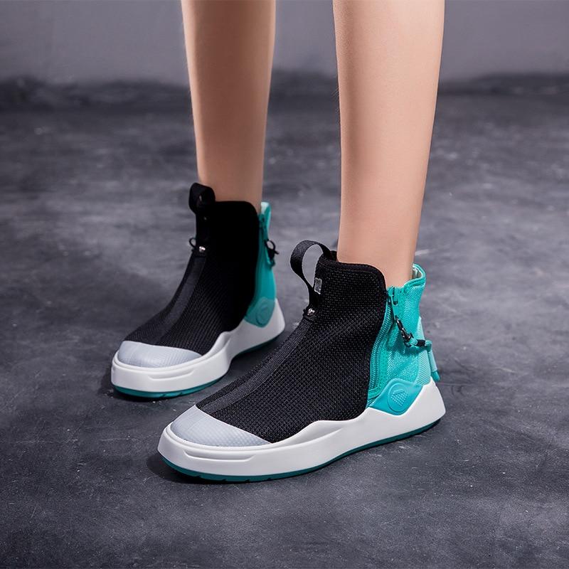 Ciel Respirant Chaussures rouge Jookrrix Automne Mode Dame 2018 Pu Chaussure Sneaker Zip Femelle Qualité Femmes Fille Top Marque pBqaBfPx