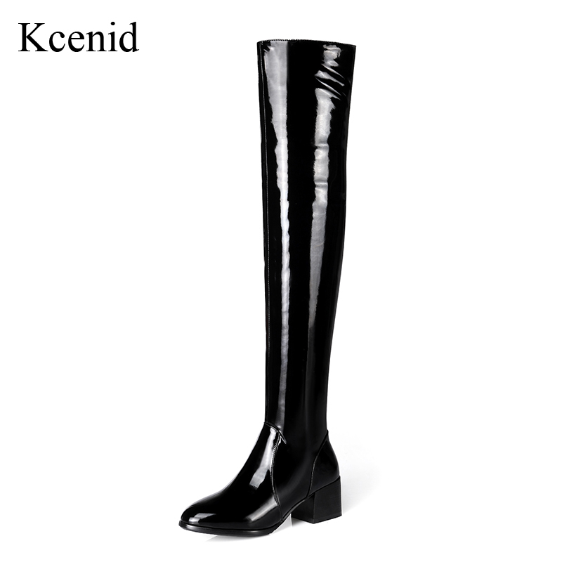 Kcenid Winter stretch patent leather shoes sexy women thigh high boots fashion pointed toe block heel zip over the knee boots new fashion women shoes pointed toe patent leather lady high heel boots for women sexy over the knee boots nightclub pumps