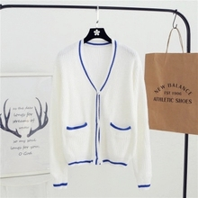 Women Sweater Casual Crochet Coat V-neck Long-sleeved Knit Cardigan Sweater Jacket White As1610