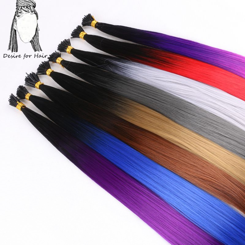 Desire for hair 300strands 22inch long 1g heat resistant ombre pink brown synthetic I tip micro ring hair extensions for Party