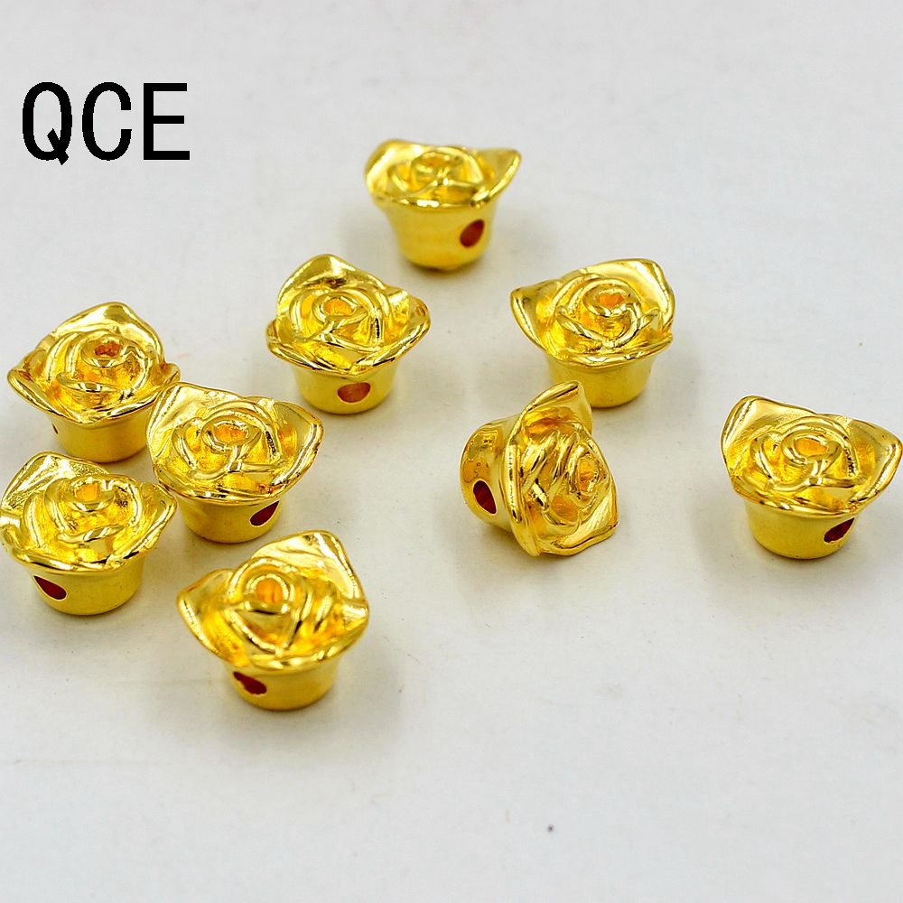 Free Shipping 48pcs 12mm Double Hole Color Gold Round Pearl Imitation Plastic Pearl Rose Flower Beads ForDIY Women Jewelry