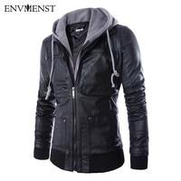 Envmenst 2017 New Style Men Motorcycle PU Leather Jackets Men Autumn Fake Two Pieces Leisure Fashion