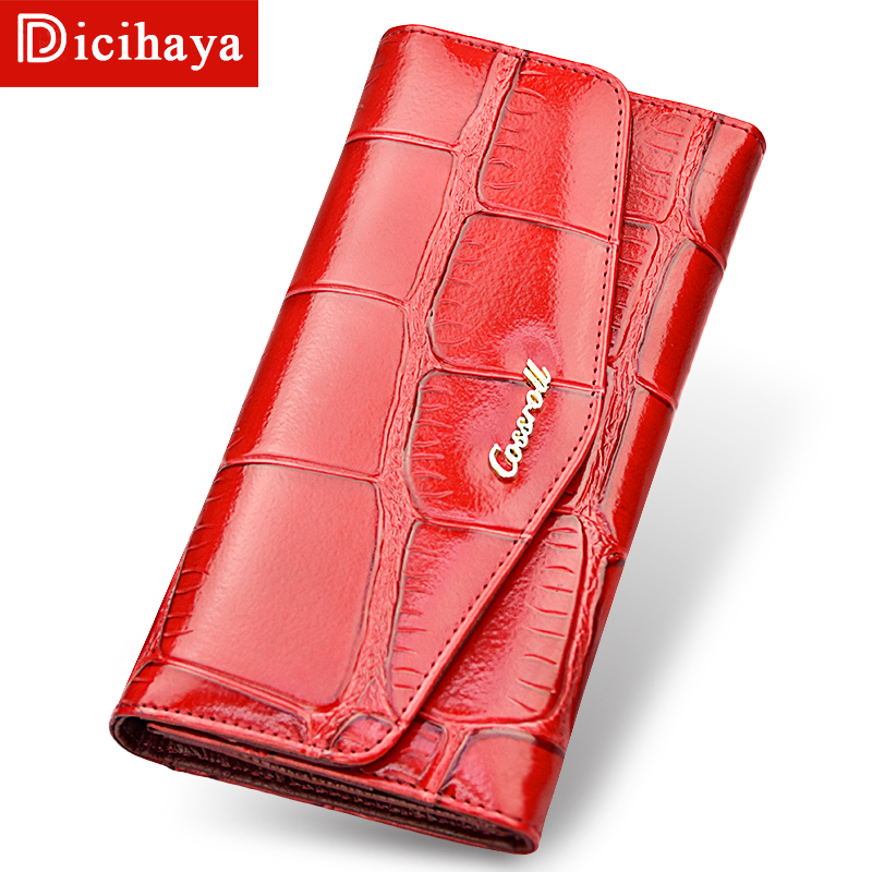 2019 More Card Genuine Leather Women Wallets Brand Design Buckles Three Fold Wallet Long Womens Purses For Card Holder Phone Bag