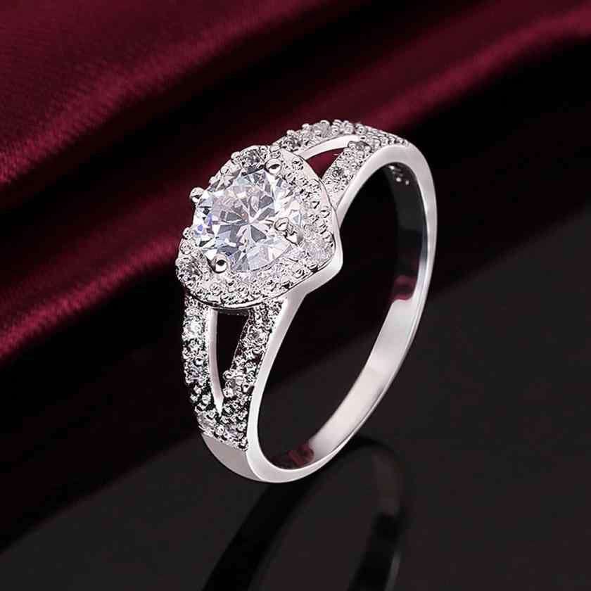 Mode femmes anneaux en forme de coeur bague zircon en forme de coeur amour motif bague de mariage saint valentin cadeau bijoux Aneis ornements
