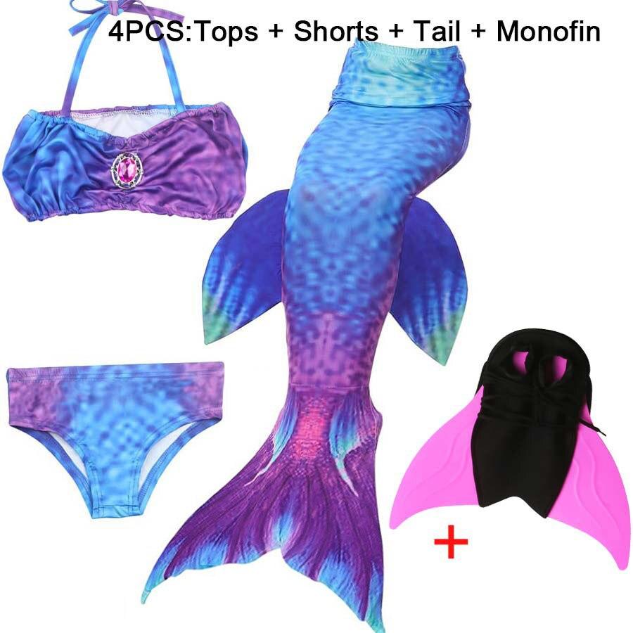 Children Mermaid Tail with Monofin Kids Girls Costumes Swimming Mermaid Tail Swimwear Bikini Swimsuit Flipper for girls 2019 New