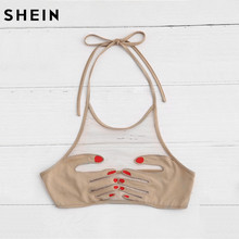 FREE SHIPPING !! Women Top Nails Hand Patch Halter Neck Mesh Bralette Crop Top JKP1004