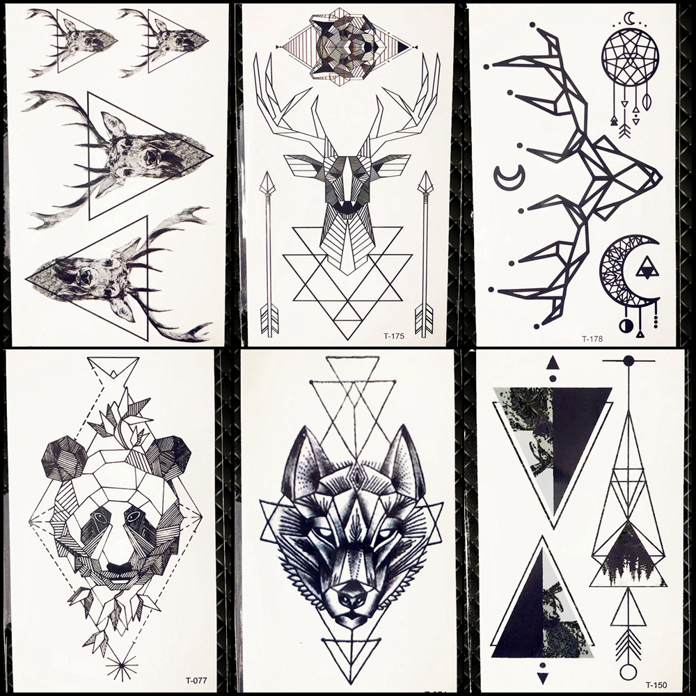 Geometric Wolf Temporary Tattoo Women Deer Elk Horm Small Fake Pencil Sketch Tattoo Arm Sticker Panda Men Chest Sexy Tatoo Moose