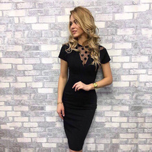 Work Summer Style Women Bodycon Dresses Sexy Casual Black Crew Neck Short Sleeve Midi Dress недорого