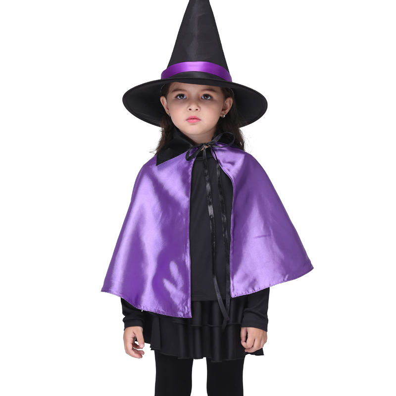 Witch Halloween Costume for Kids Set Black Long Sleeves Top Tshirt Short Skirt Purple Cloak with Hat Children Party Girls Sets black rose ornament bracelet ring for halloween costume party black 5pcs
