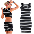 Hot sale 2016 Summer Sexy Striped sun beach dresses Patchwork Backless strapless bandage Dress party wear outfits for women w105