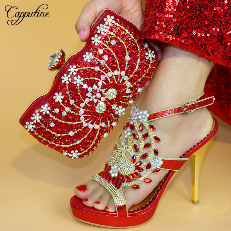 Capputine High Quality Pumps 12CM Shoes And Bag Set For Party Italian Design Matching Shoes And Bag Set Free Shipping TX-863 capputine new 2018 african design black shoes and matching bags italian style high heels shoes and bag set for party tx 421