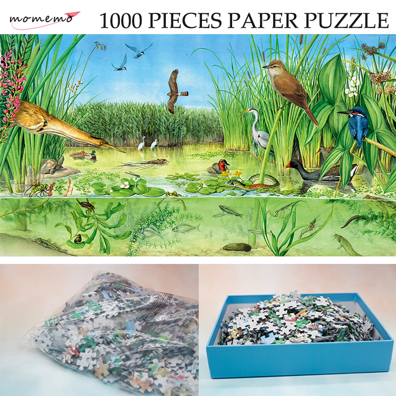 MOMEMO The Freshwater Ponds Adult Paper Puzzle 1000 Pieces Ecosystem Jigsaw Puzzle Original Exquisite Hand-painted Puzzles Gifts