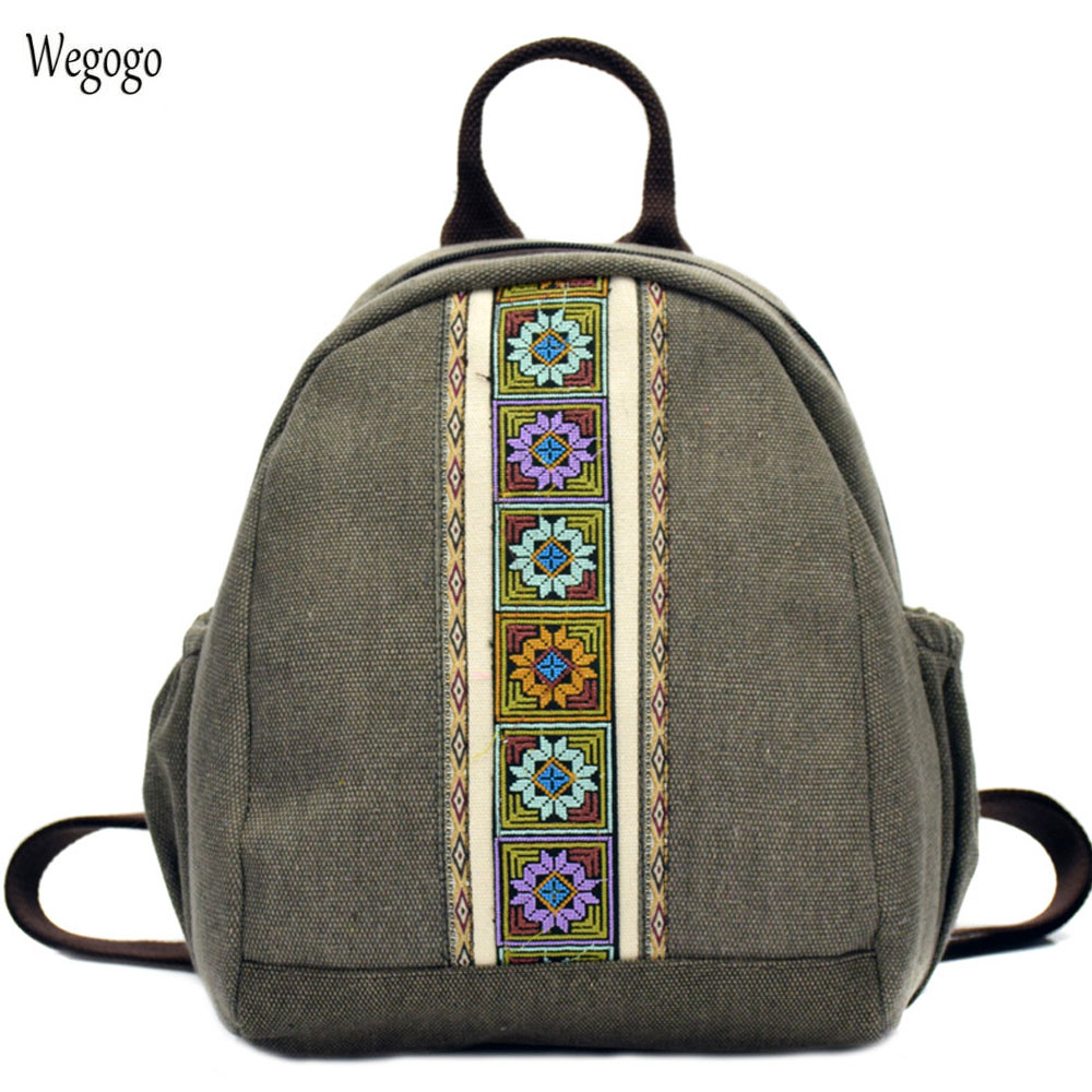 New Women Backpack National Simple Embroidery Canvas Backpacks Mini Schoolbag Rucksack Travel Beach Shoulder Bags