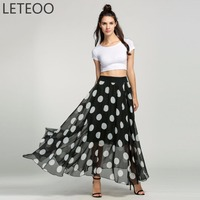 LETEOO Summer 2017 Fashion Bohemian Maxi Long Skirt Women Polka Dot Print Floor Length High Waist