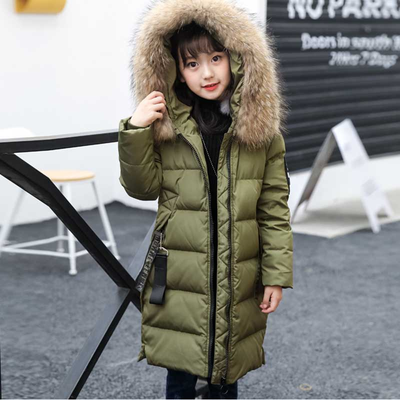 High Quality Fashion Girls Winter Down Jacket Children Fur Collar Hooded Outerwear Teenager Girls Patchwork Warm Overcoat Parkas