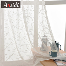 New Geometry White Embroidery Tulle Curtains for the Living Room modern Sheer Curtain for Bedroom Window Blind Voile Custom Size cheap AOSIDI Left and Right Biparting Open Translucidus (Shading Rate 1 -40 ) striped Polyester Cotton Rope Included Window Living Room Bedroom