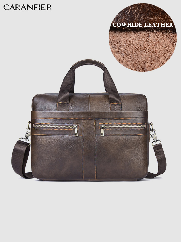 CARANFIER Briefcases Mens Business Travel Bags Genuine Cowhide Leather Laptop Computer Solid Zipper Handbags Shoulder Bags Totes