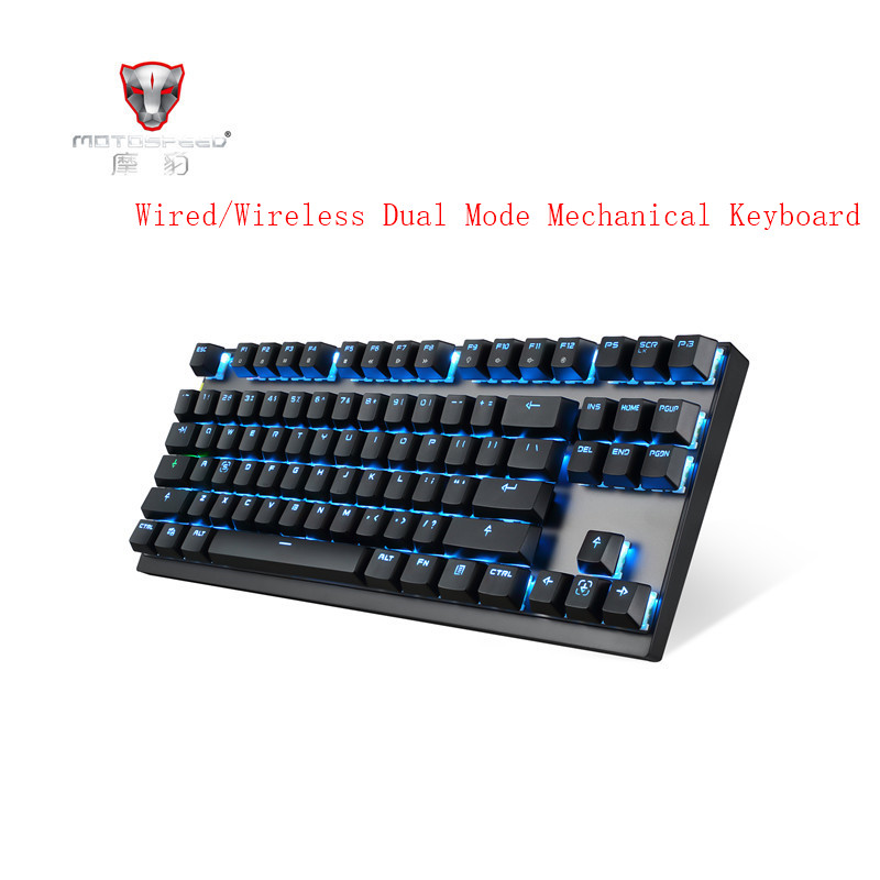 MOTOSPEED GK82 Portable 2.4G Wired/Wireless Dual Mode Mechanical Keyboard 87 Keys RGB Backlight Gaming Blue/Red Switch PC Gamer