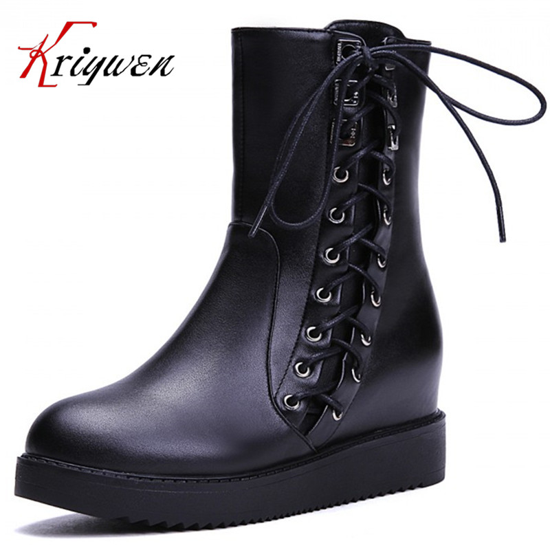 ФОТО Free shipping 2015 Winter women shoes Riding Equestrian mid-calf round toe flat with genuine leather knot 100% full cow boots