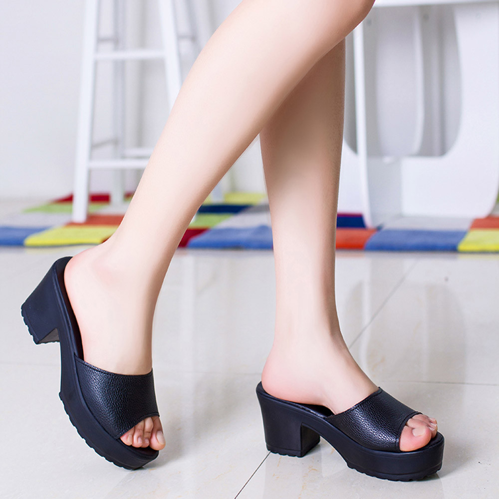 Fashion Slippers Women New Casual High Heeled Platform PU Leather Soft Ladies Wedges Flip Flop Sandals Solid Color Women Shoes  high quality women comfort high heels slippers sandals platform shopping flip flop 170511