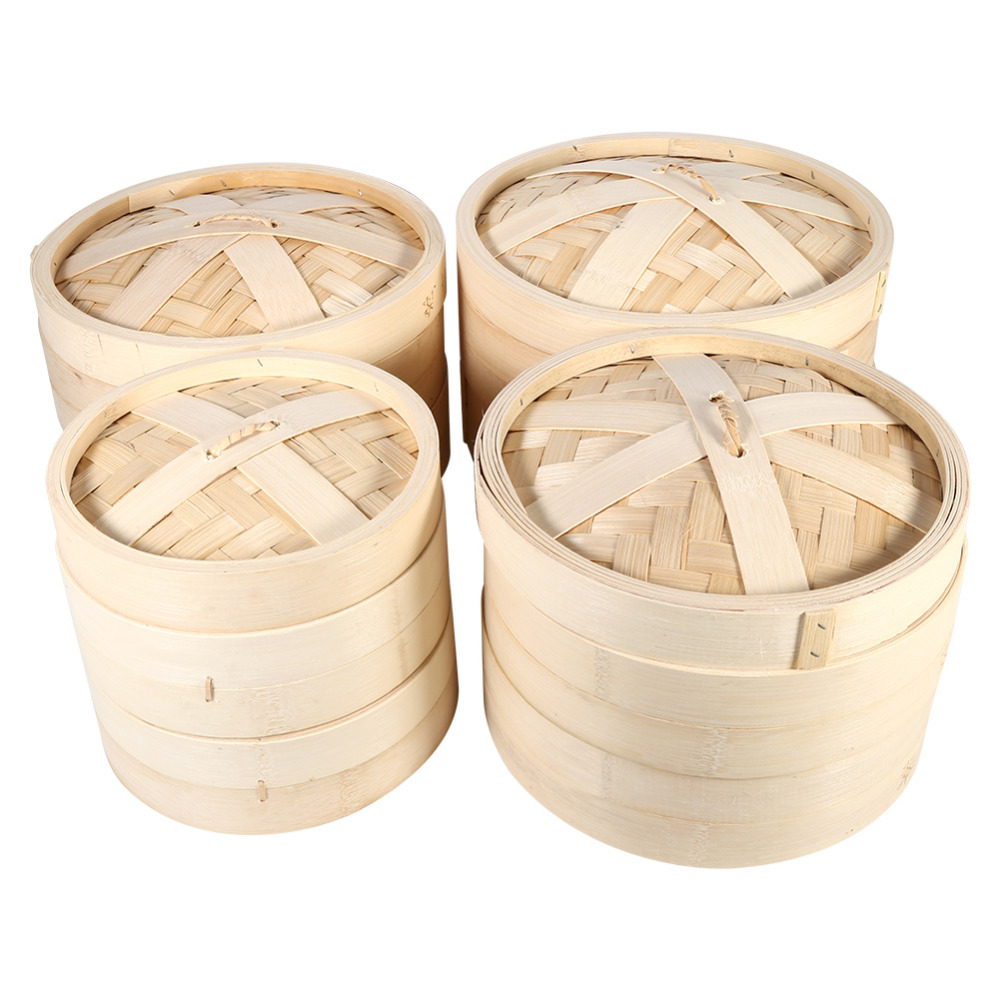 Durable Cookware 2 Tiers Natural Bamboo Steamer Basket Rice Chinese Rice Cooking Food Pasta Cooker Set