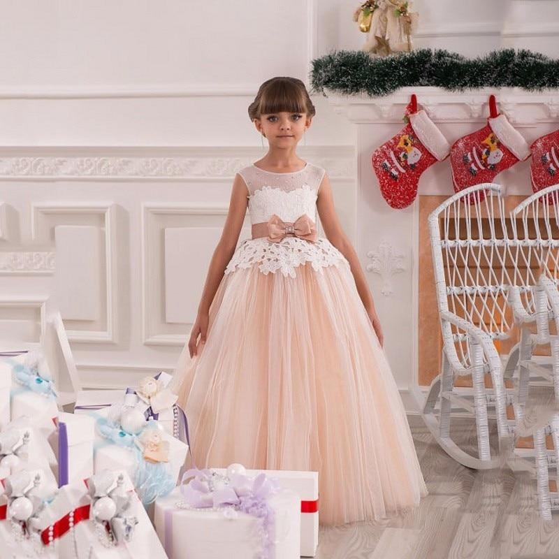 Kids Evening Gowns Peach Pink Lace Ball Gown Flower Girl Dresses with Bow Belt Vestido de Daminha  Beauty Pageant Dresses Cheap