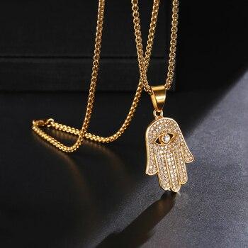 12b26b741404 Hip Hop mano de Fatima collares y colgantes 316L cadena del Color del oro  del acero inoxidable Palma declaración joyería para hombres religión